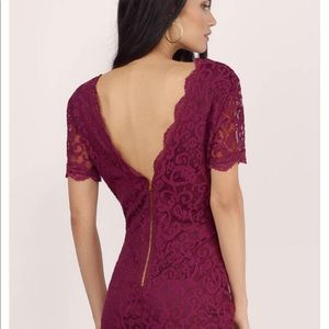 Dresses - Burgundy Lace Mini Dress
